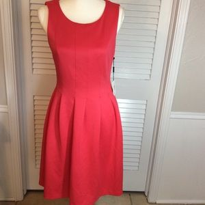 Coral Calvin Klein Fit & Flare Dress